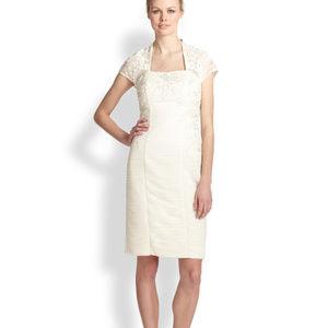 SUE WONG Bolero Sheath Dress White 12 #210